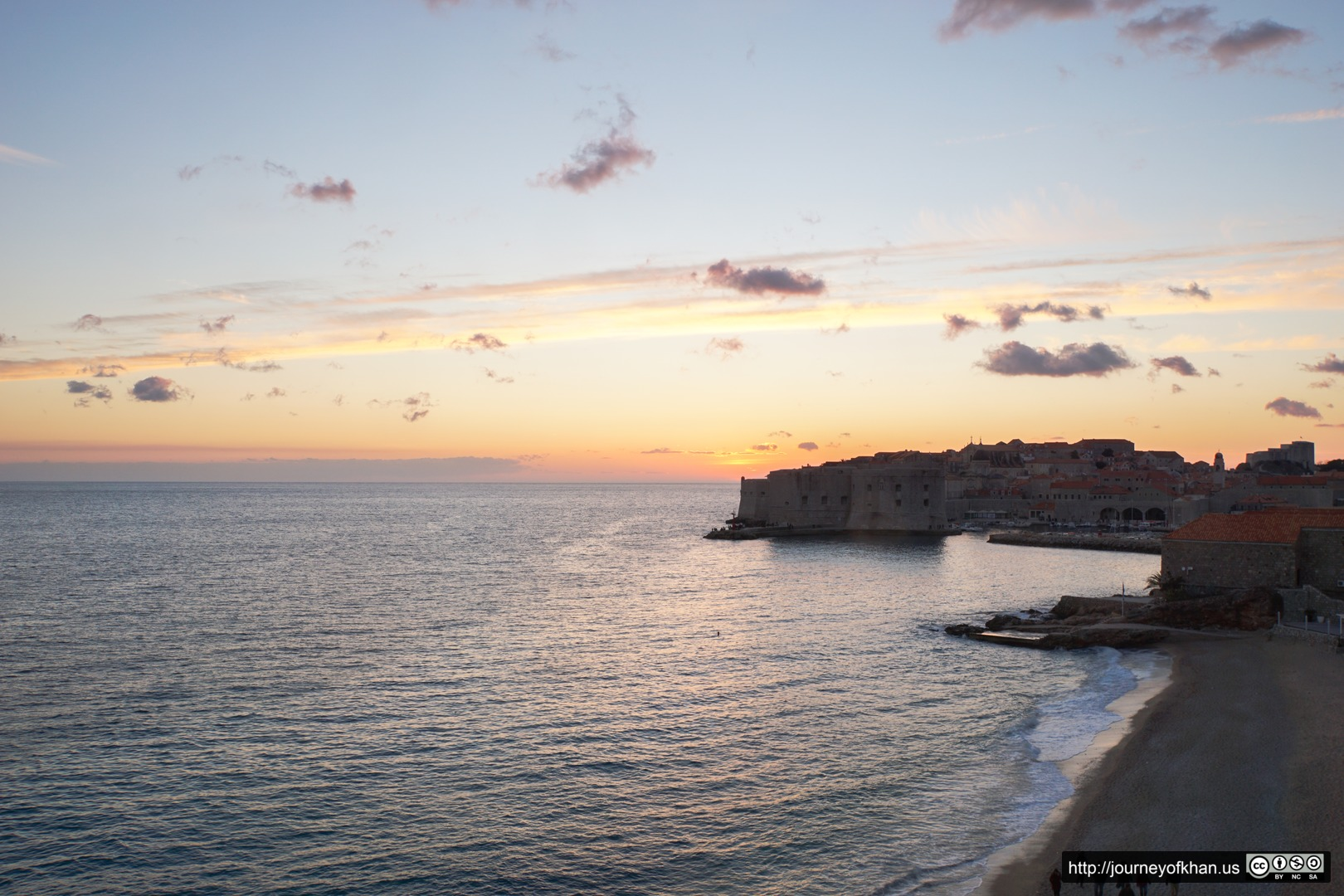 Sunset over the City and the Beach of Dubrovnik